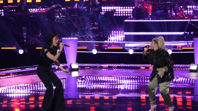 """THE VOICE -- """"Battle Rounds"""" Episode 2108 -- Pictured: (l-r) Samara Brown, BrittanyBree -- (Photo by: Greg Gayne/NBC)"""