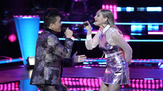 """THE VOICE -- """"Battle Rounds"""" Episode 2108 -- Pictured: (l-r) Vaughn Mugol, Katherine Ann Mohler -- (Photo by: Greg Gayne/NBC)"""
