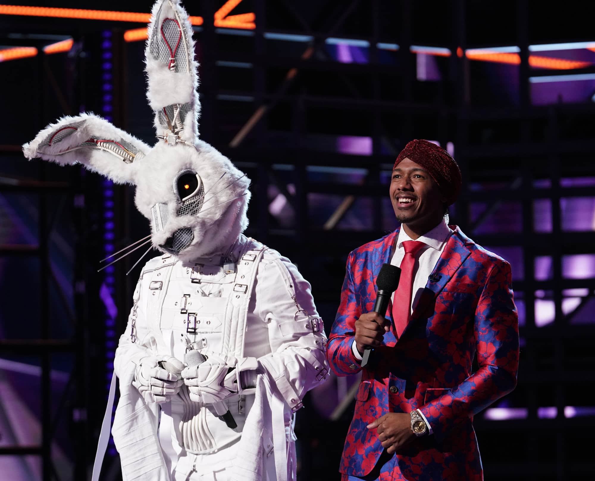 "THE MASKED SINGER: L-R: Rabbit and host Nick Cannon in the ""Another Mask Bites the Dust"" airing Wednesday, Jan. 23 (9:00-10:00 PM ET/PT) on FOX. © 2019 FOX Broadcasting.  Cr: Michael Becker / FOX."