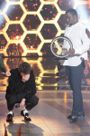 "THE FOUR: BATTLE FOR STARDOM: L-R: Host Fergie, Season Two winner James Graham, judge Sean ""Diddy"" Combs and contestant Sharaya J in the ""The Finale"" Season Two finale episode of THE FOUR: BATTLE FOR STARDOM airing Thursday, August 2 (8:00-10:00 PM ET/PT) on FOX. CR: Michael Becker / FOX. © 2018 FOX Broadcasting Co."