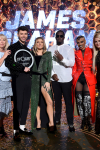 "THE FOUR: BATTLE FOR STARDOM: L-R: Season Two winner James Graham (4th from Left), host Fergie, judge Sean ""Diddy"" Combs, contestant Sharaya J and judges Meghan Trainor and DJ Khaled in the ""The Finale"" Season Two finale episode of THE FOUR: BATTLE FOR STARDOM airing Thursday, August 2 (8:00-10:00 PM ET/PT) on FOX. CR: Ray Mickshaw / FOX. © 2018 FOX Broadcasting Co."